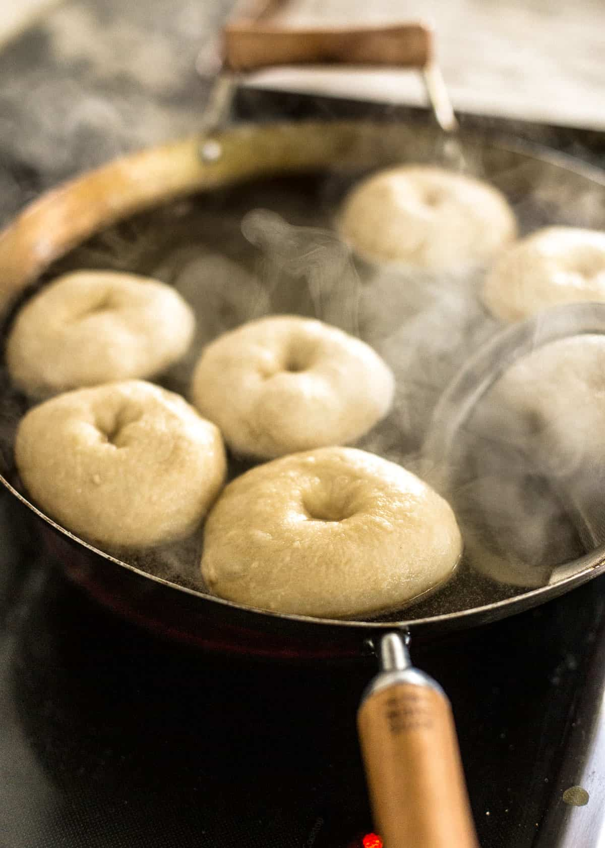 boiling homemade bagels