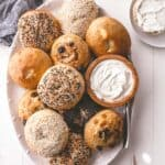 homemade bagels on an oval tray