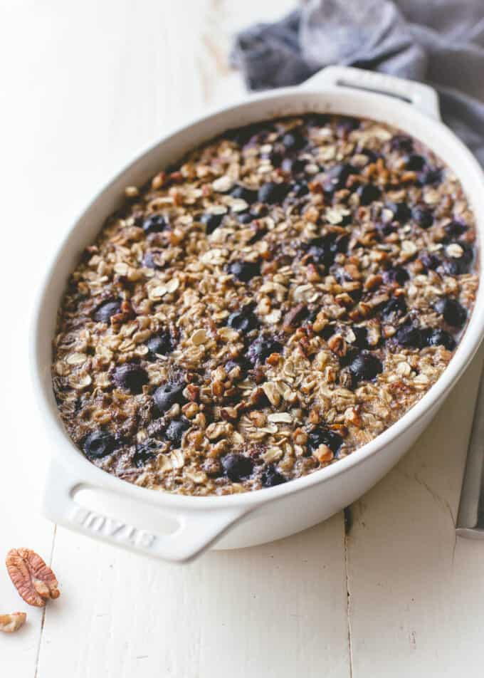 blueberry oatmeal in a white baking dish