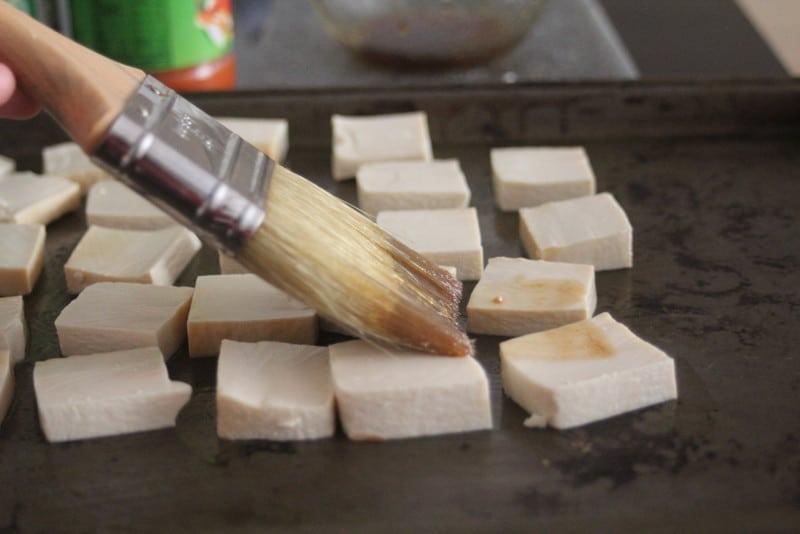 Tofu prep for Thai Soba Noodle Bowls