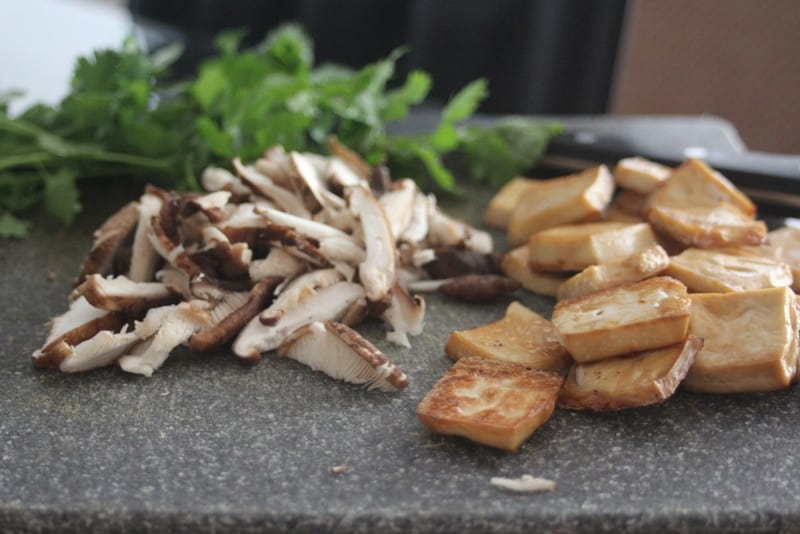 Tofu and Mushrooms for noodle bowls