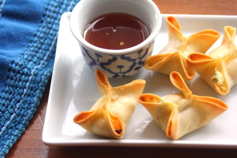 Baked Crab Rangoon with Pineapple Dipping Sauce -
