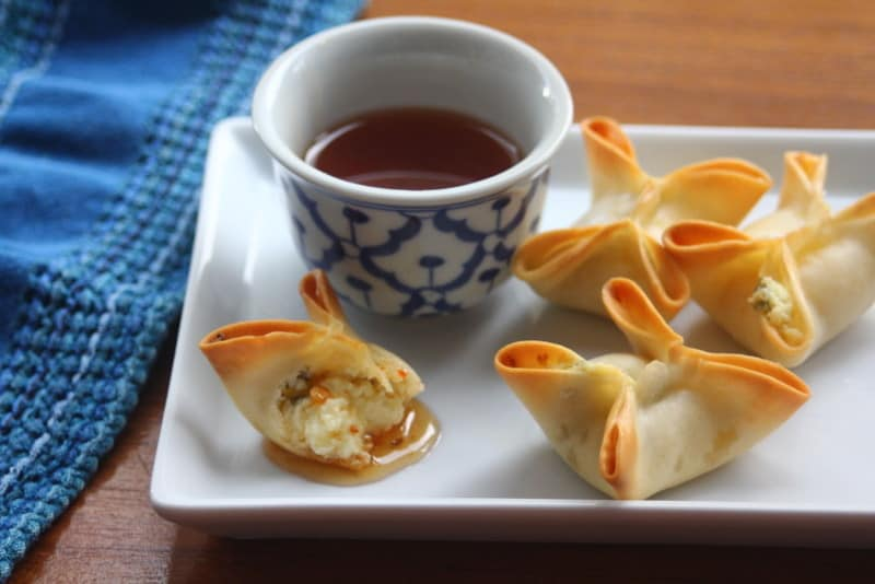 Baked Crab Rangoon with Pineapple Dipping Sauce