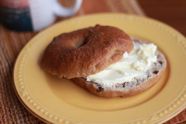 homemade Cinnamon Raisin Bagel with cream cheese
