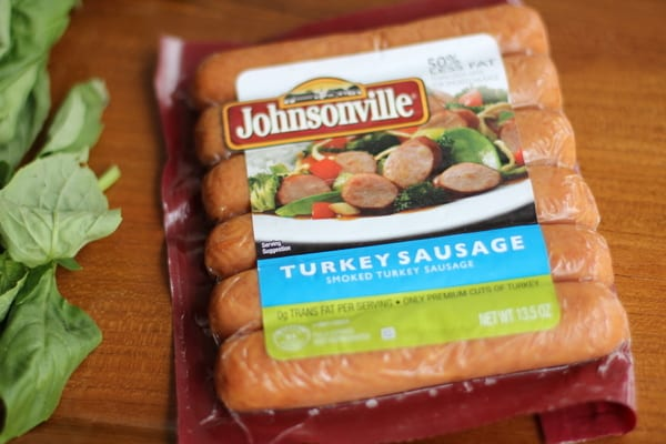 turkey sausage on a wooden cutting board