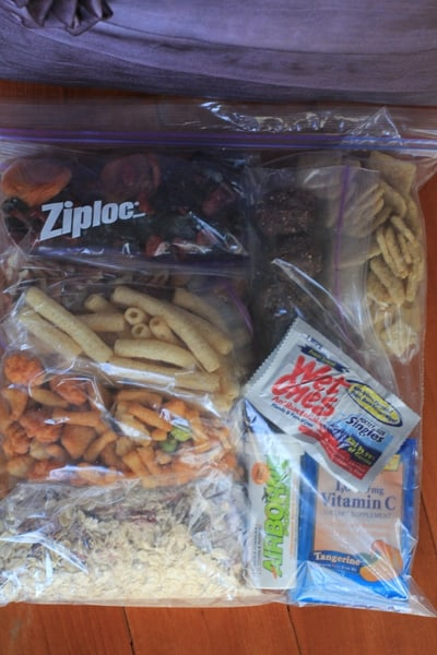 snacks in bags for the plane
