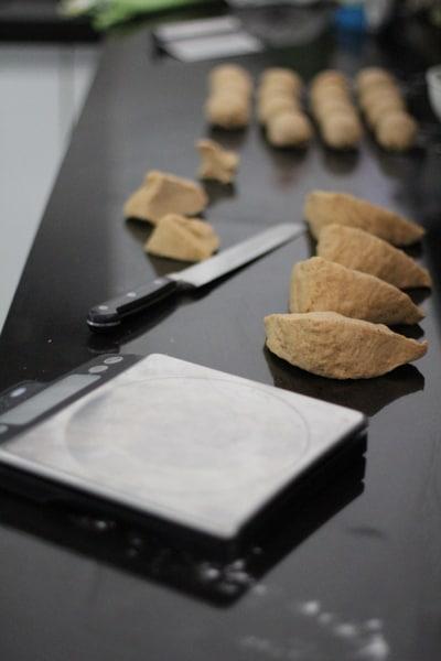 dividing dough for bagels