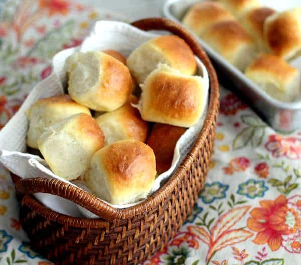 rolls in a lined basket