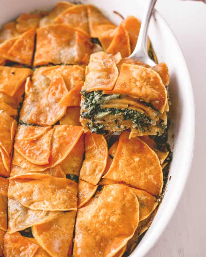 squash and spinach casserole cut into pieces