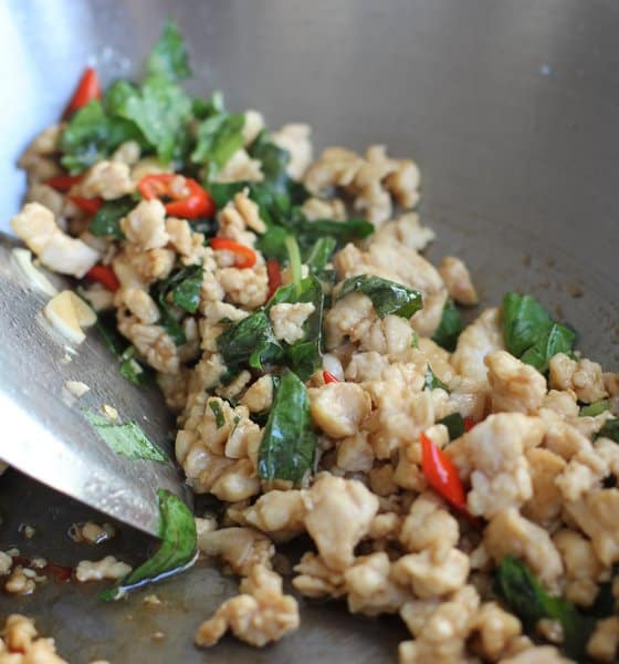 Thai Chicken with Holy Basil - Gai Pad Grapow in a wok