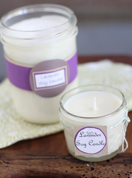 soy candles in glass jars with labels