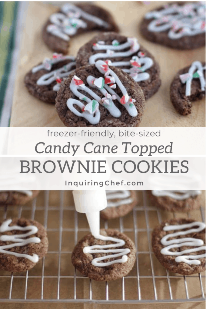 chocolate brownie cookies with candy cane topping