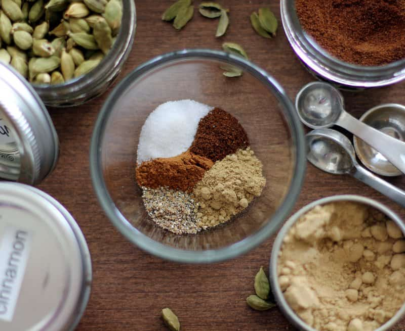 Chai Spice Mix in a clear glass bowl
