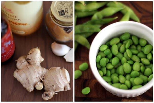 Ginger and Edamame on a wooden table