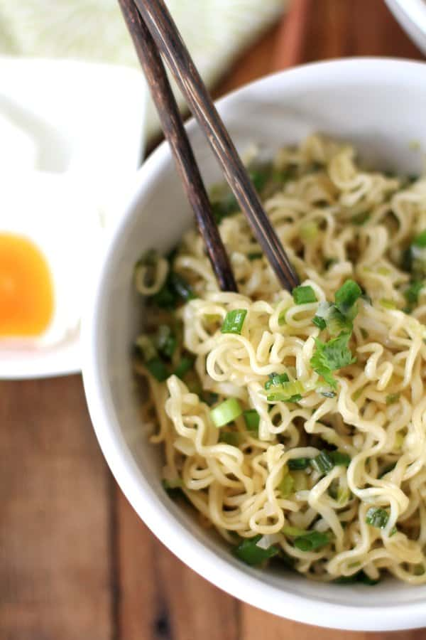 Ginger Scallion Noodles in a white bowl