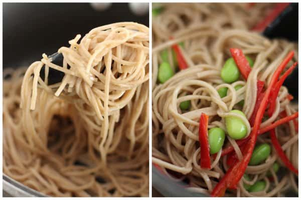 Soba Noodles with Miso Vinaigrette in a bowl