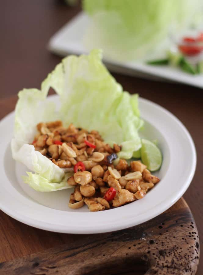 lettuce leaves and chicken on a white plate