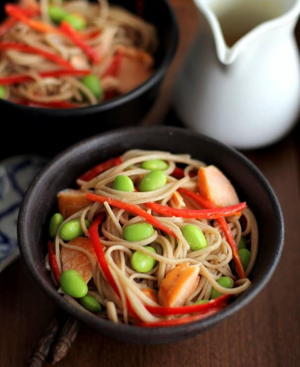 Salmon and Edamame Soba Noodles with Miso Vinaigrette