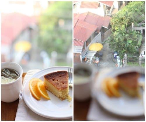 Orange and Honey Polenta Cake on a white plate