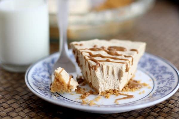 a slice of speculoos pie with a bite taken out