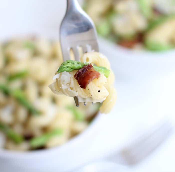 a forkful of spring vegetable pasta