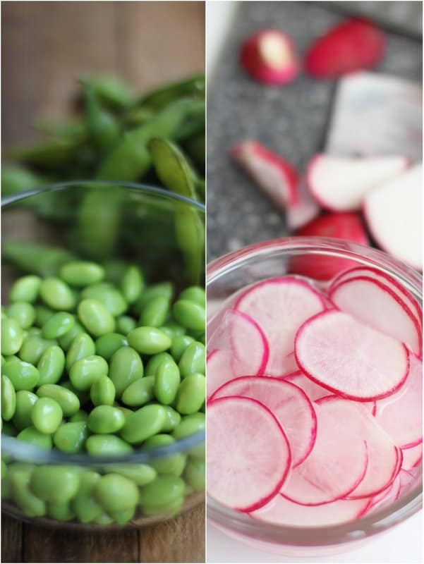 edamame and radishes in clear glass bowls