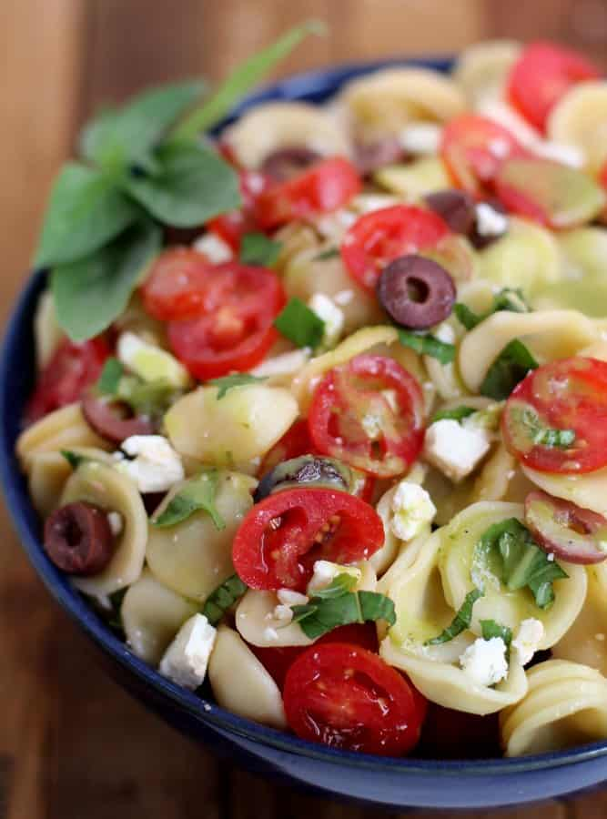 pasta salad in a blue bowl