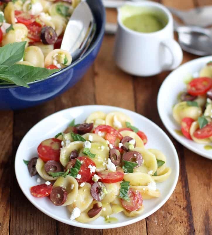 pasta salad on white plates