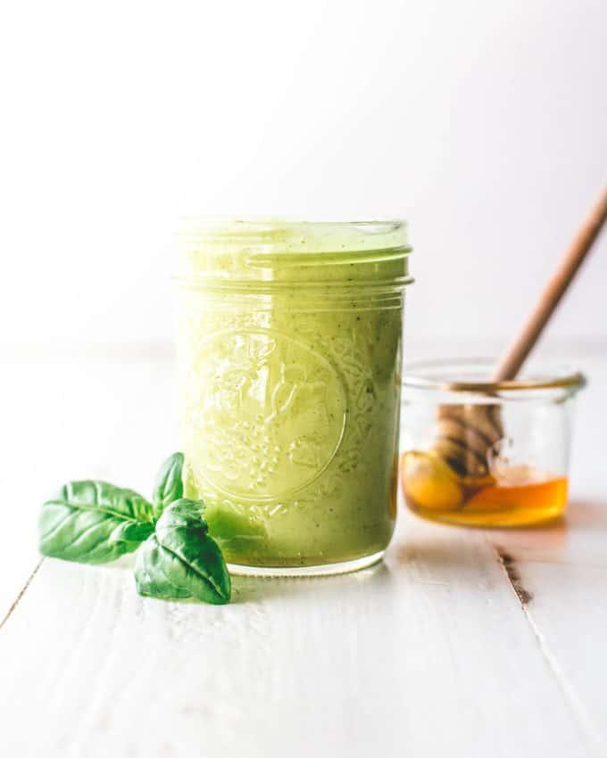 vinaigrette in a small glass jar