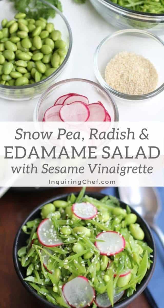 snow pea, radish and edamame salad
