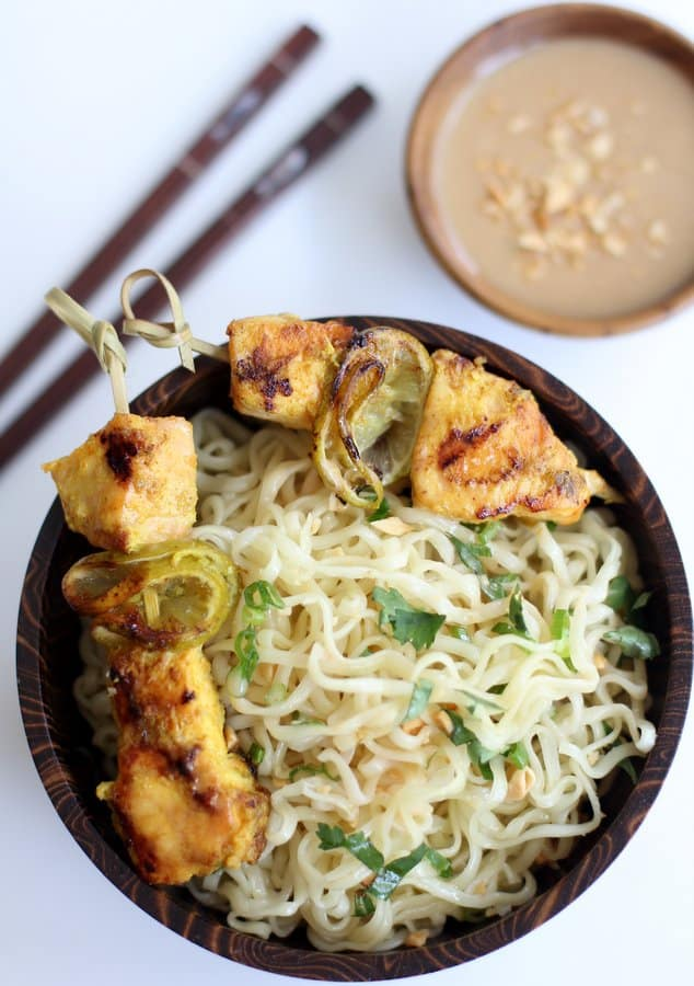 Salmon Satay with Peanut Dipping Sauce and Noodles