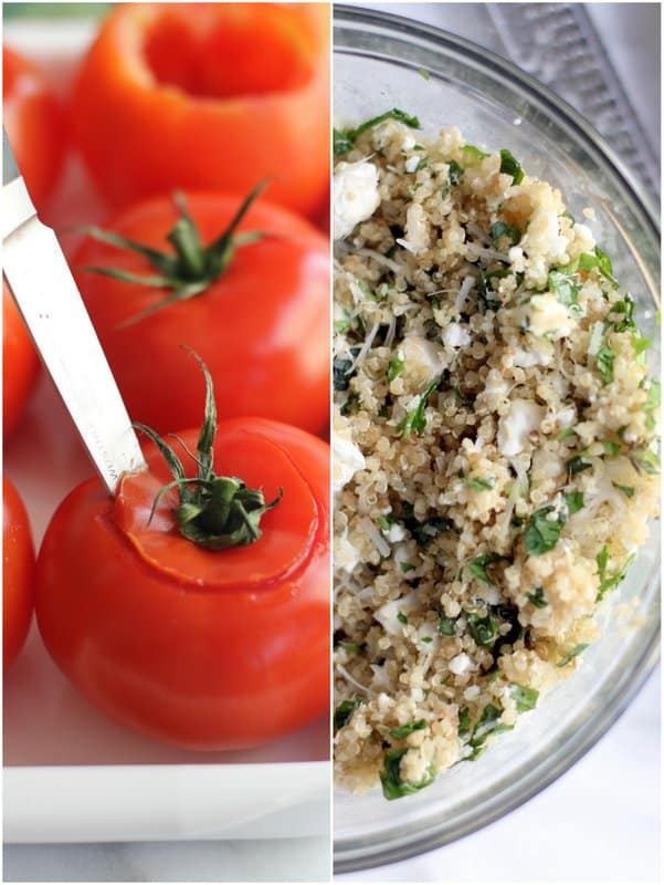cutting the tops off tomatoes, and a bowl full of quinoa