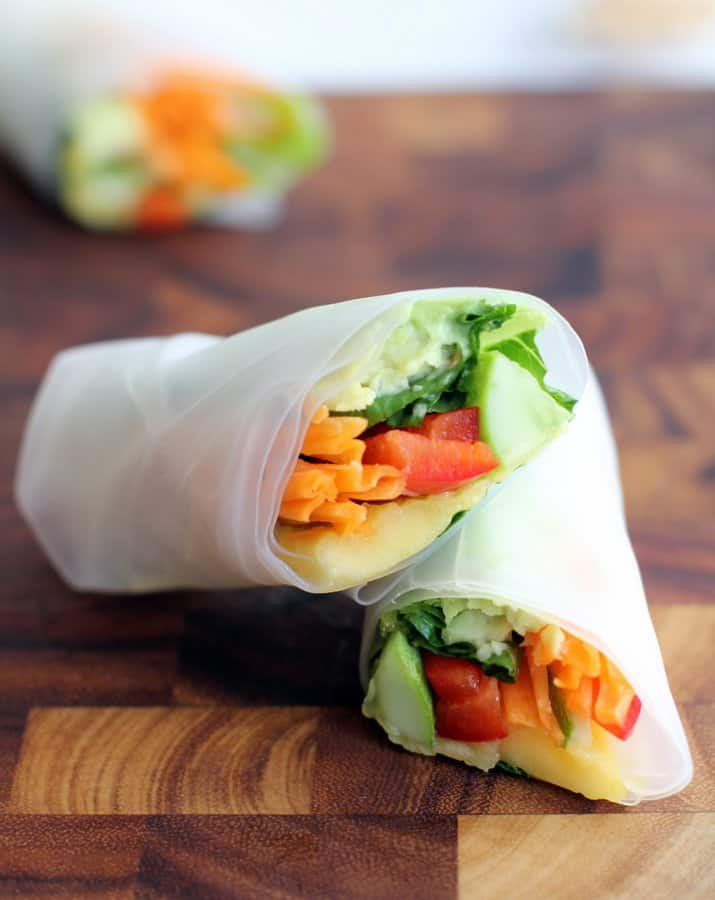 summer rolls on a wooden tray
