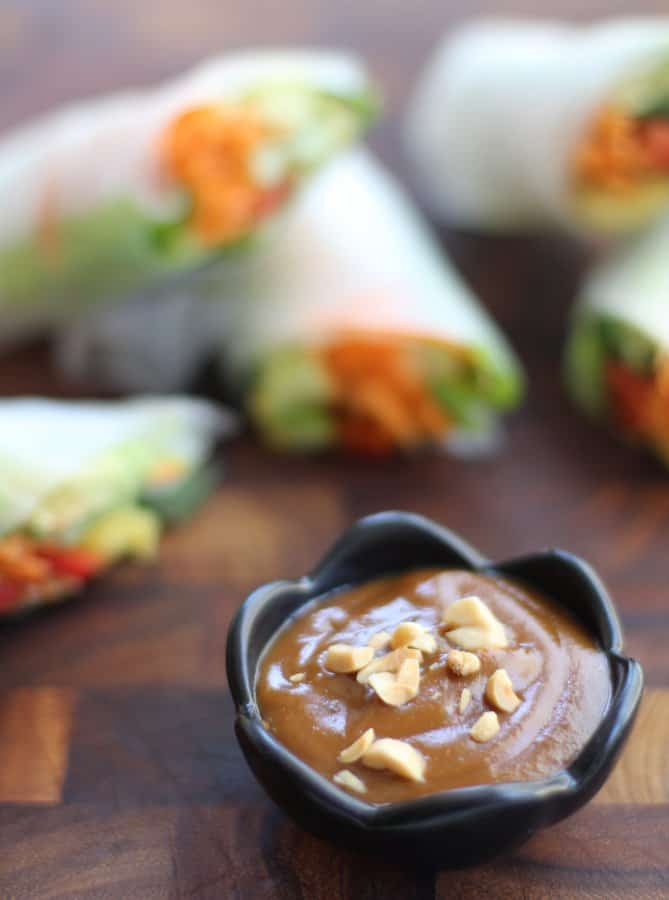 peanut dipping sauce in a small black bowl