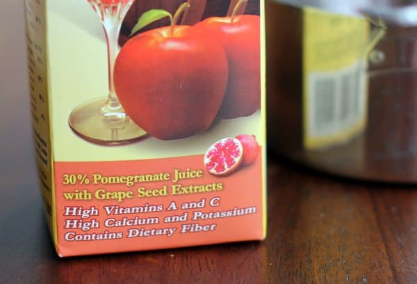 apple cider mixed with pomegranate juice