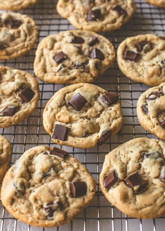 peanut butter chocolate chunk cookies on a wire rack
