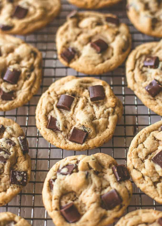 chocolate chunk cookies on a wire rack