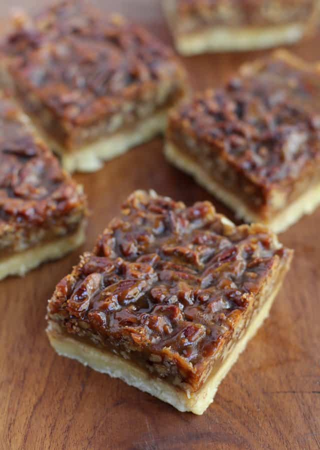 Pecan Squares on a wooden table