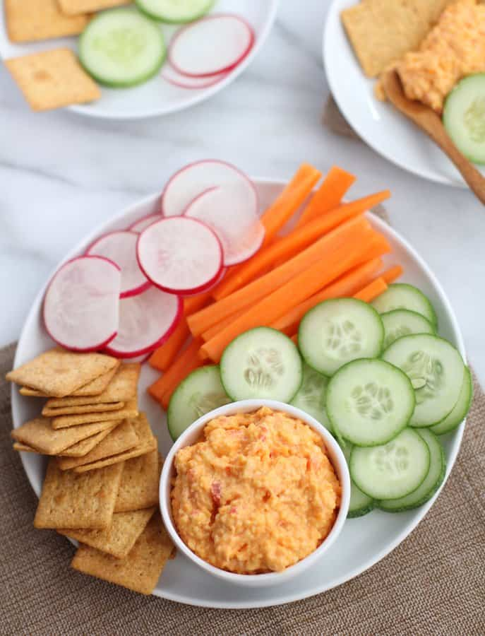 Pimiento Cheese and vegetables in white bowls