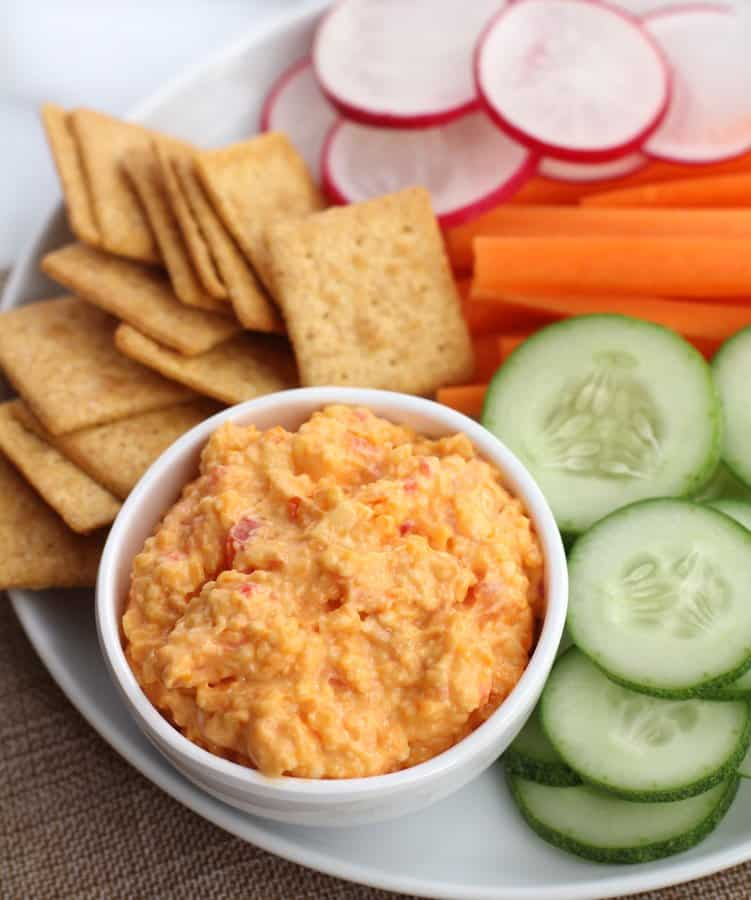Pimiento Cheese in a small white bowl