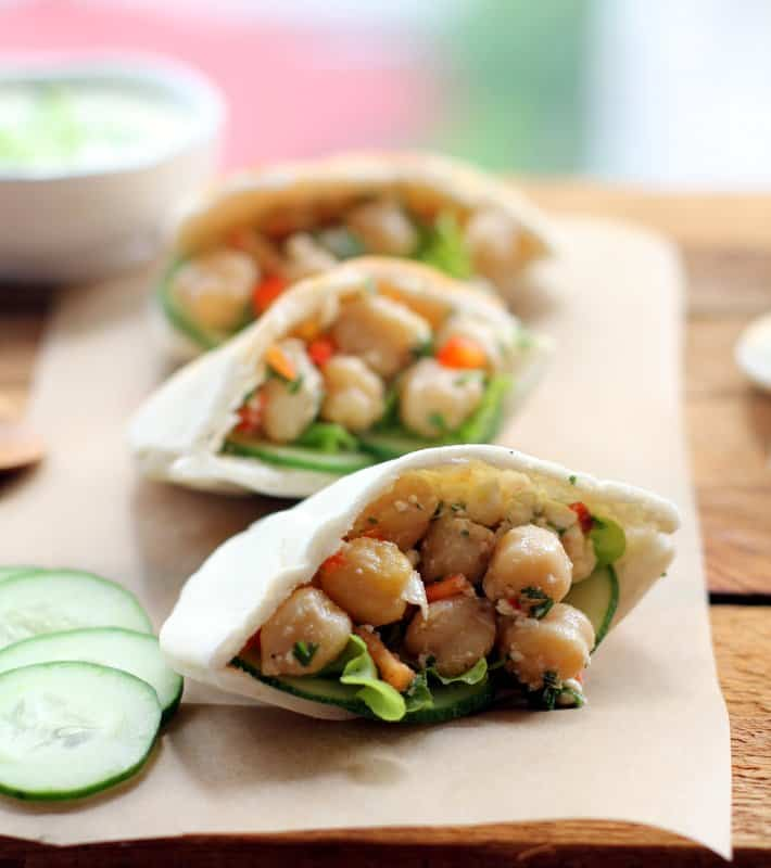 chickpea salad in pitas on a table