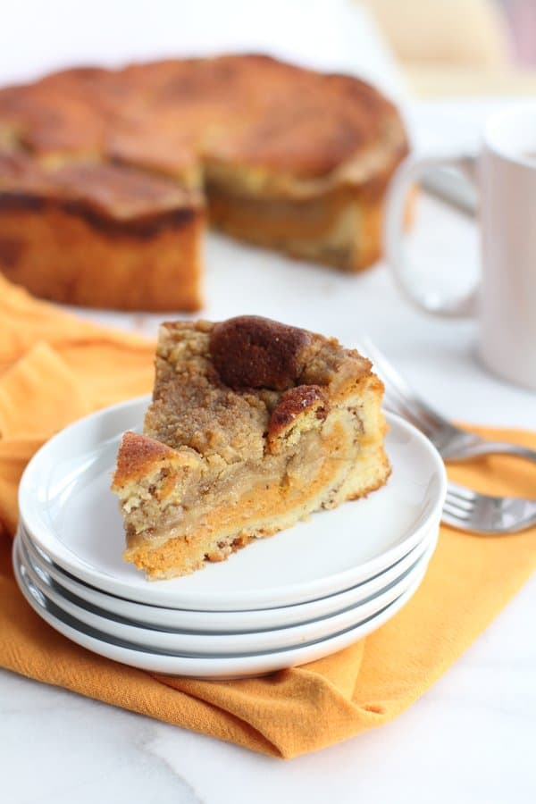 a slice of coffee cake on a white plate