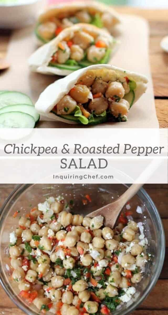chickpea and roasted red pepper salad