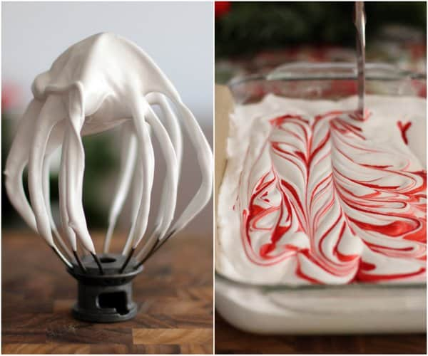 swirling red food coloring into marshmallow mixture