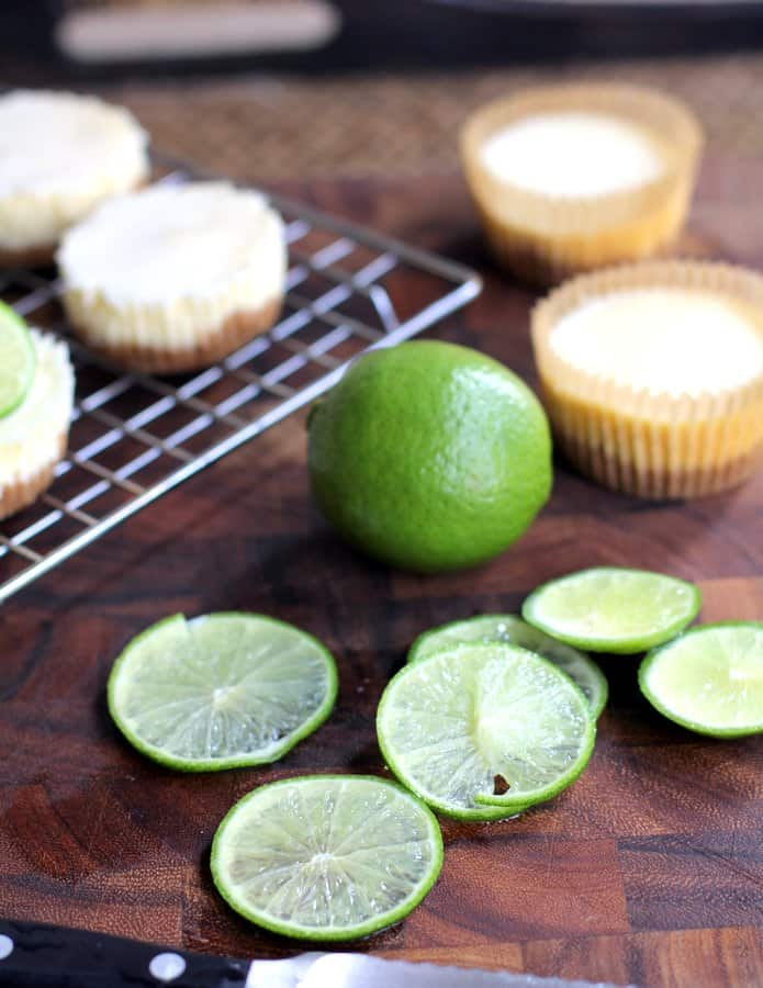 lime slices on a wooden table