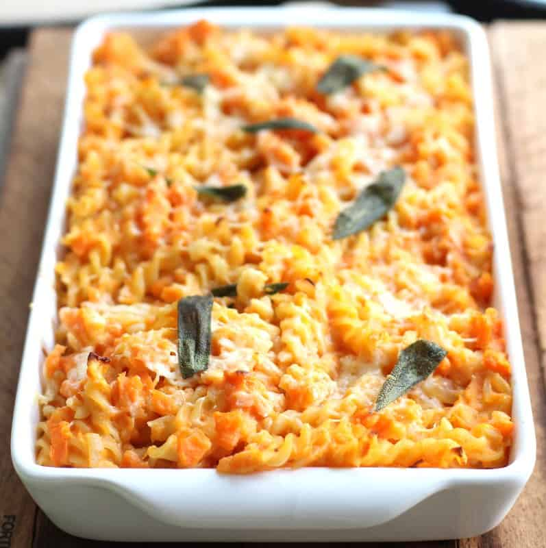 baked pasta in a white baking dish