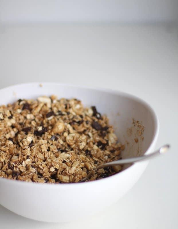 granola in a white bowl
