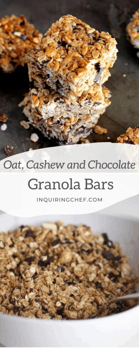 cashew and chocolate granola bars