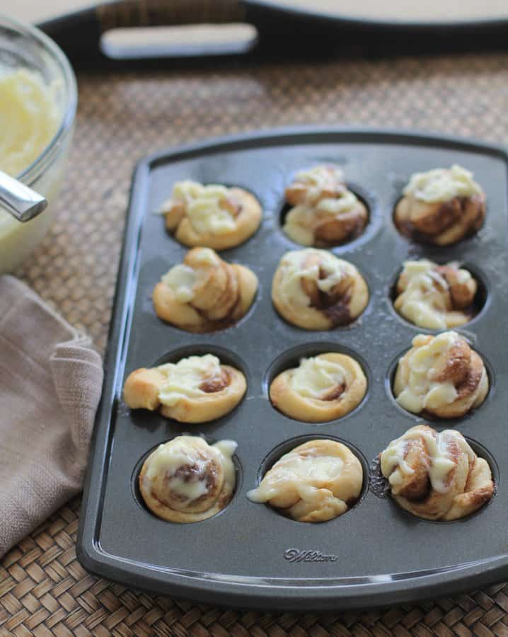 mini rolls in a mini muffin tin