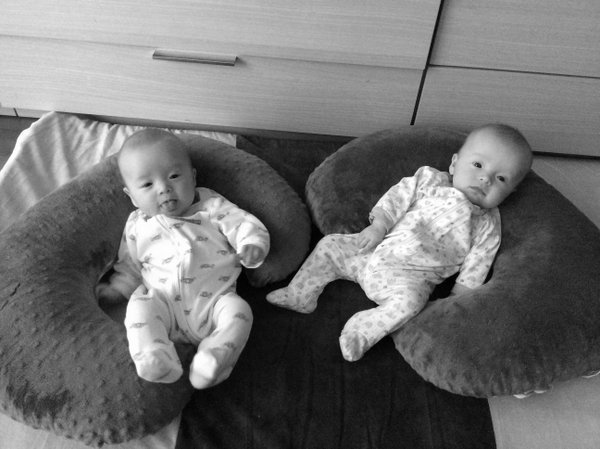 clara and molly 4 months b&w